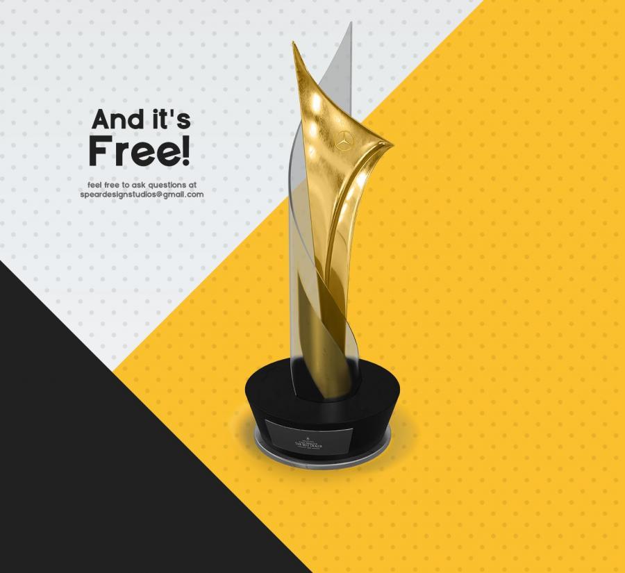 Free Gold Award Mockup Template