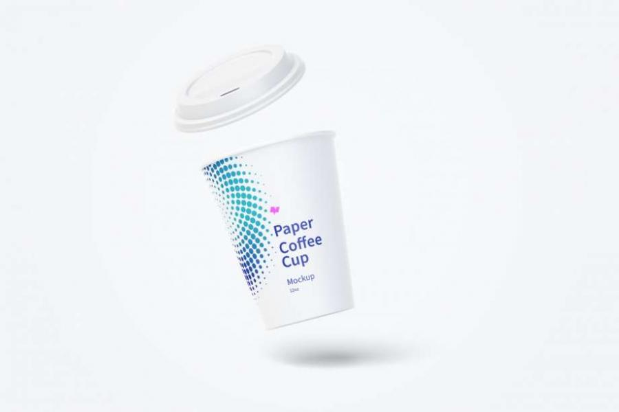 Free Paper Coffee Cup Floating Mockup