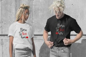 Free Teen Couple Wearing T- Shirt Mockup