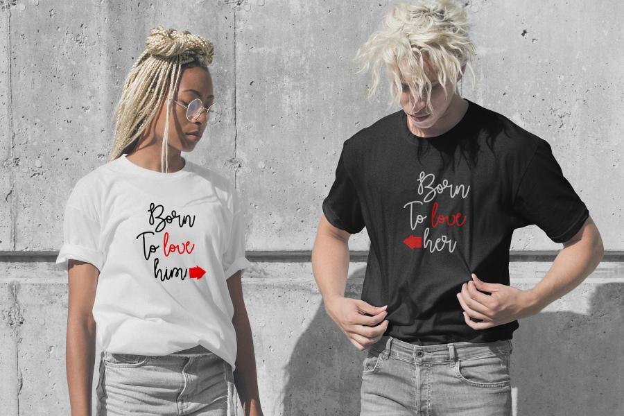 Free Teen Couple Wearing T- Shirt Mockup