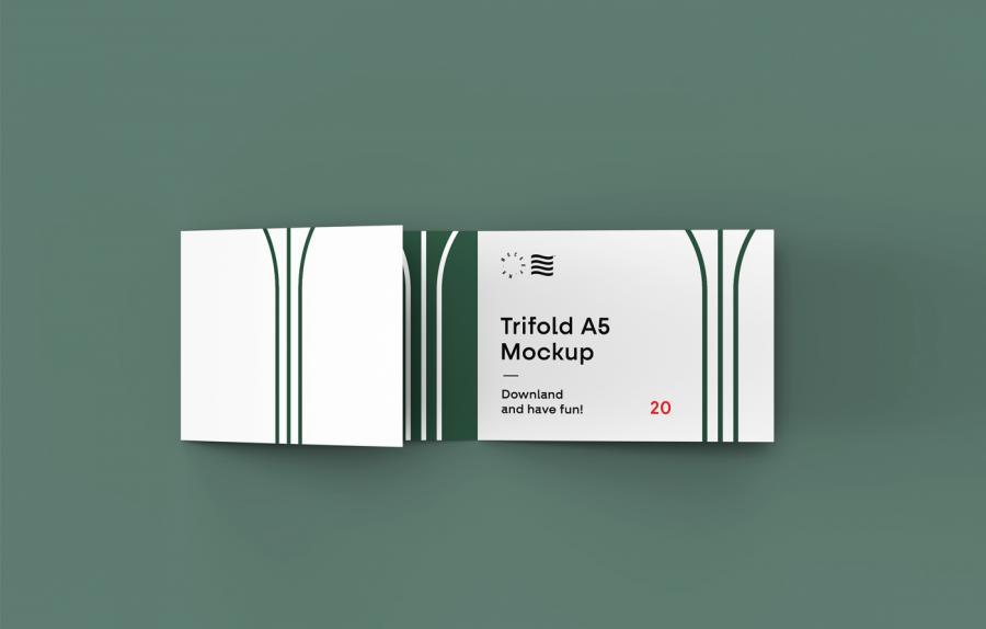 Free Trifold Landscape Brochure Mockup