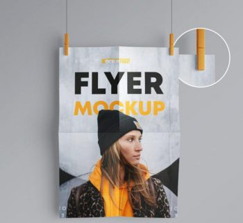 Free Wall Hanging Flyer Mockup