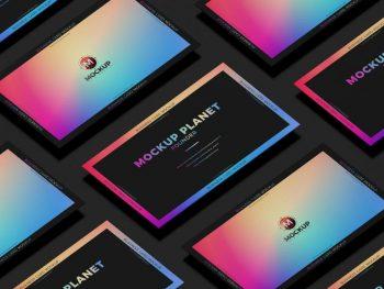 Grid Business Card Free (PSD) Mockup Design