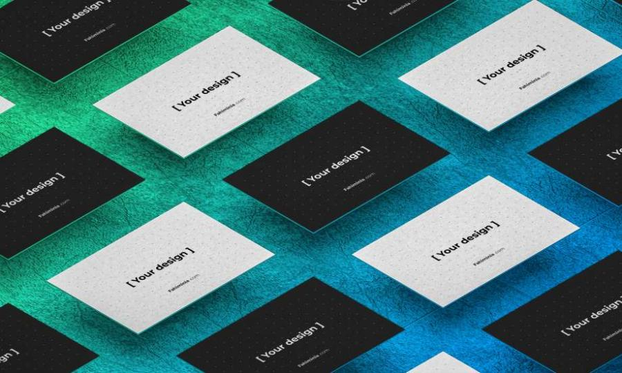 Isometric Business Card Free Mockup Template