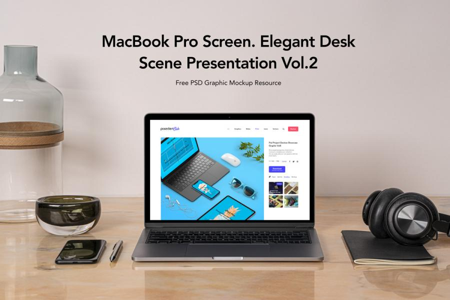 MacBook Pro On Desk Scene Free (PSD) Mockup