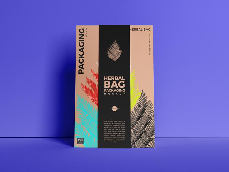 Paper Herbal Bag Packaging Free Mockup