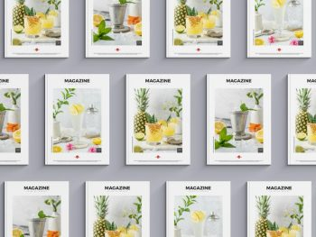 Top View Magazine Cover Set Free Mockup