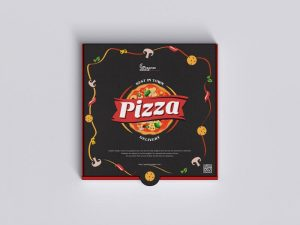 Top View Pizza Packaging Free Mockup