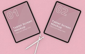Free Tablet Screen Mockup With Pencil