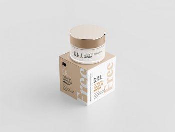 Cosmetic Box with Jar Free Mock-ups