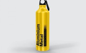Free Aluminium Metal Drink Bottle Mockup