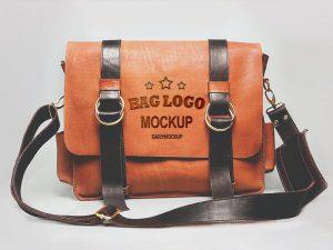 Free Embossed Logo Mockup on Leather Bag