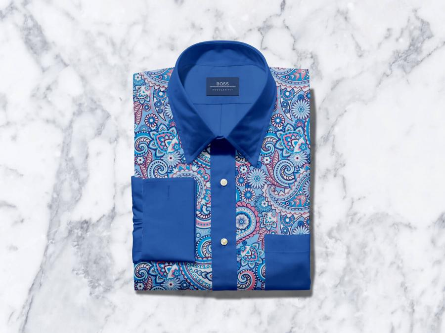 Free Folded Cotton Dress Shirt with Label Mockup