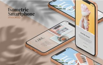 Free Isometric Smartphone Mockup