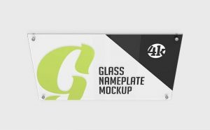 Free (PSD) Glass Nameplate Mockup