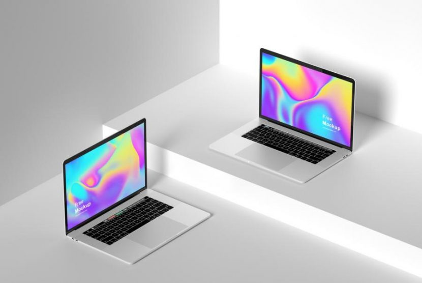Free (PSD) Isometric Apple Devices Mockup