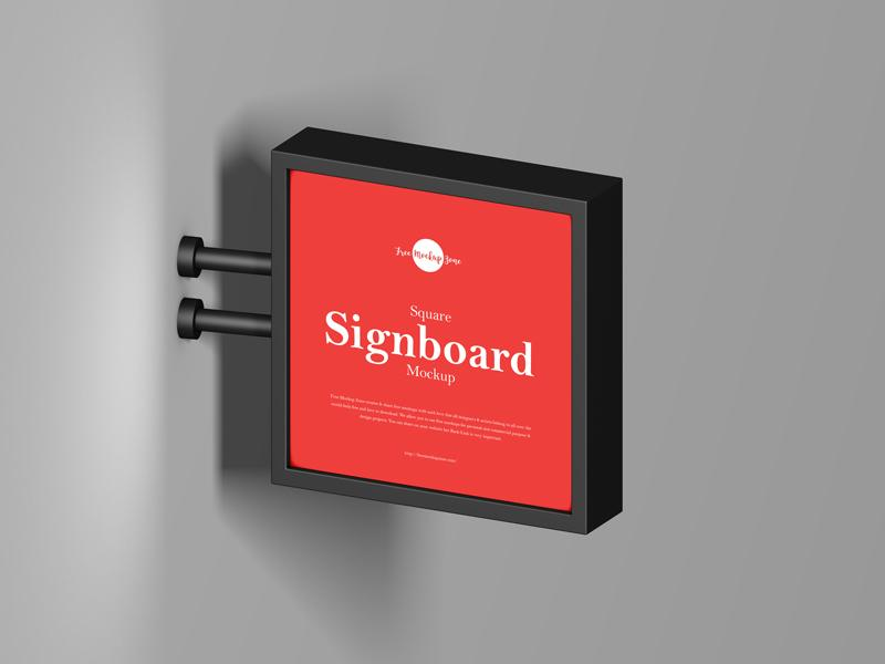 Free (PSD) Square Signboard Mockup