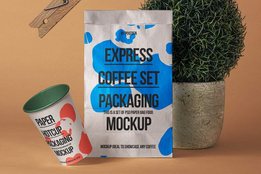 Free Paper Bag with Cup Mockup
