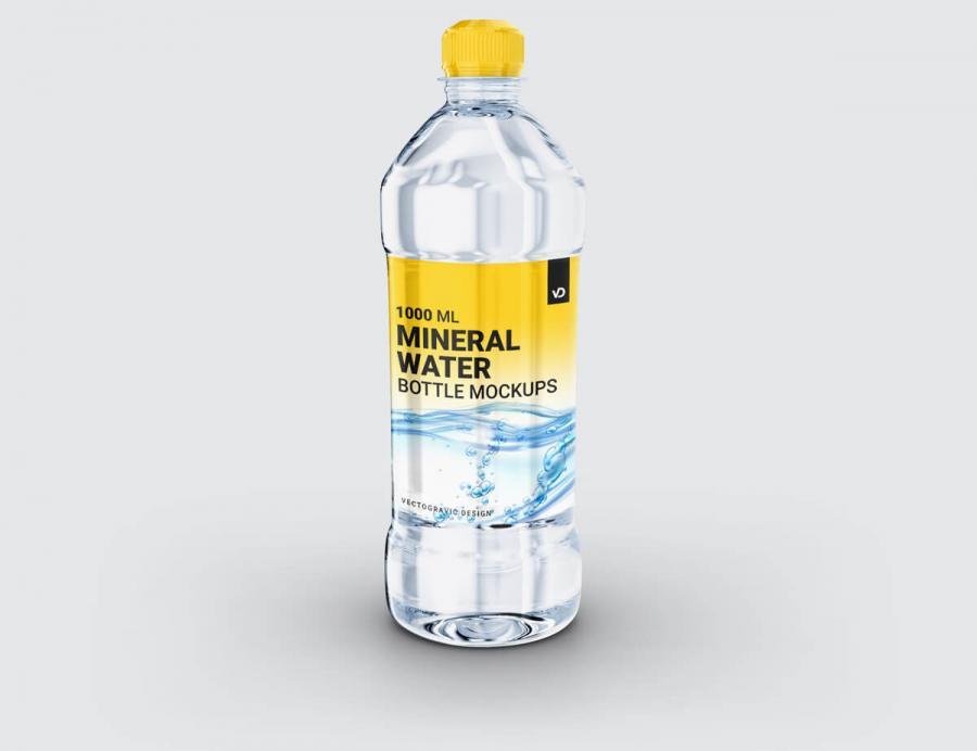 Free Plastic Mineral Water Bottle Mockup