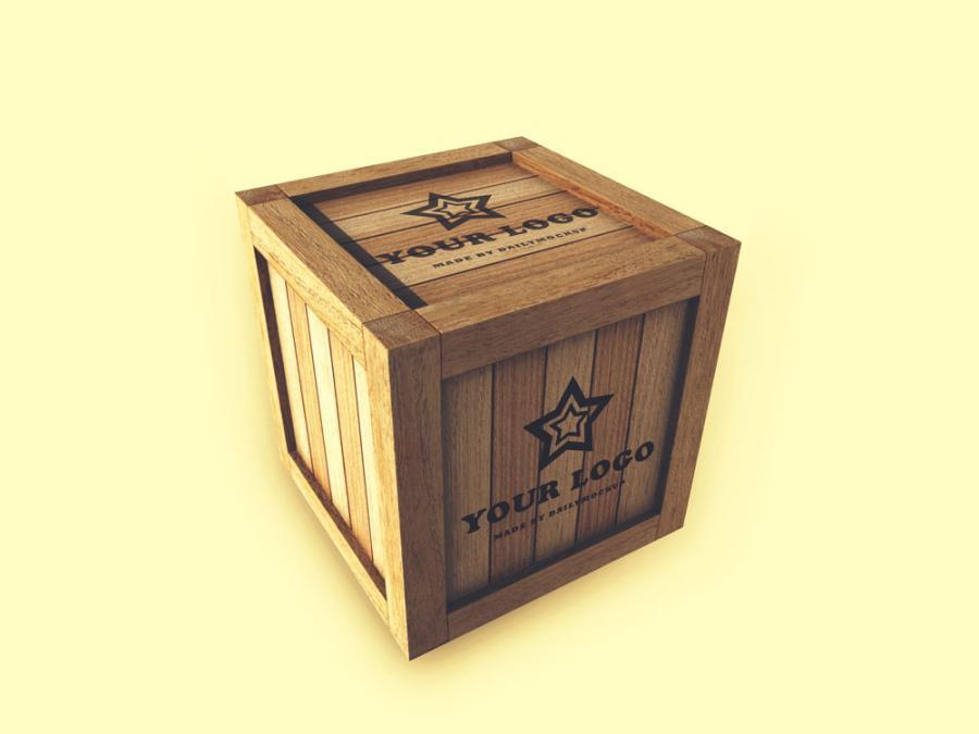 Free Wooden Box Logo Mockup
