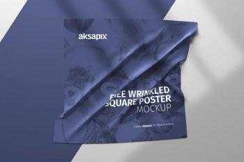 Free Wrinkled Square Poster Mockup