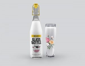 Free Milk Glass Bottle Mockup