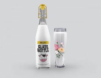 Free Milk Glass Bottle Mockup