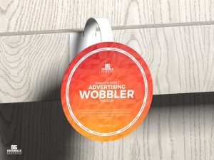 Wooden Shelf Advertising Wobbler Free Mockup
