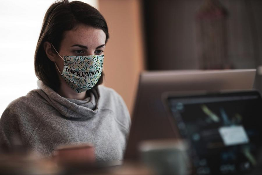Working in Face Mask Free Mockup
