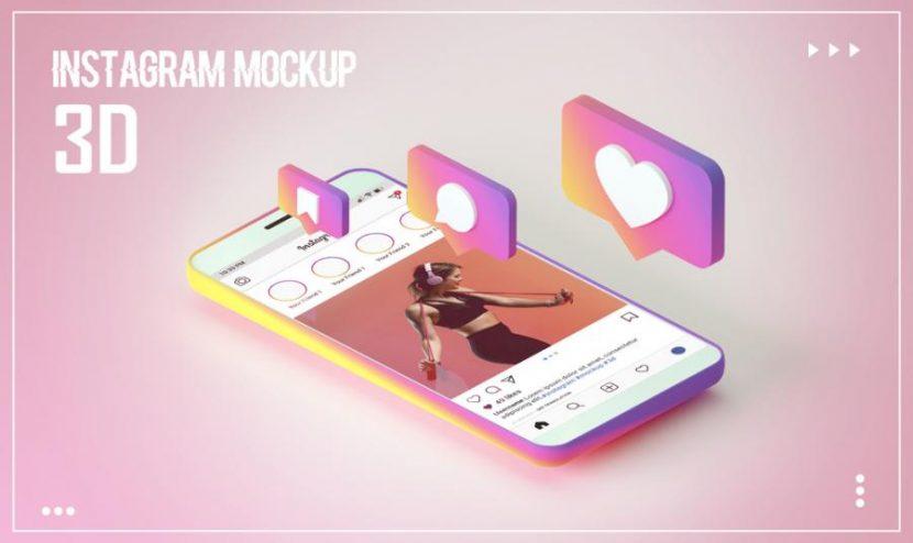 Free 3D Instagram Feed Mockup