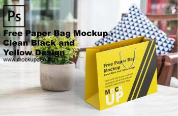 Free Black and Yellow Paper Bag Mockup
