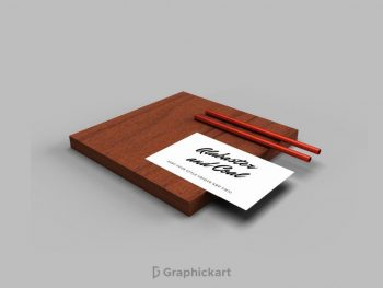 Free Business Card on Wooden Furniture Mockup