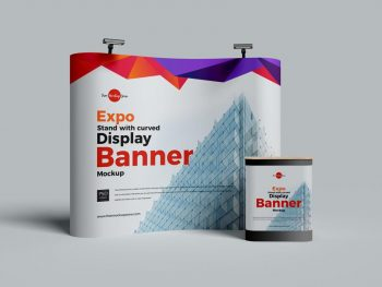 Free Expo Stand With Curved Display Banner Mockup