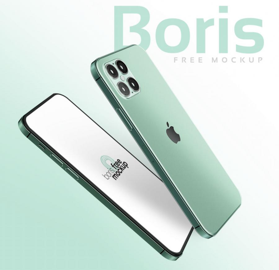 Free Green iPhone 12 Mockup