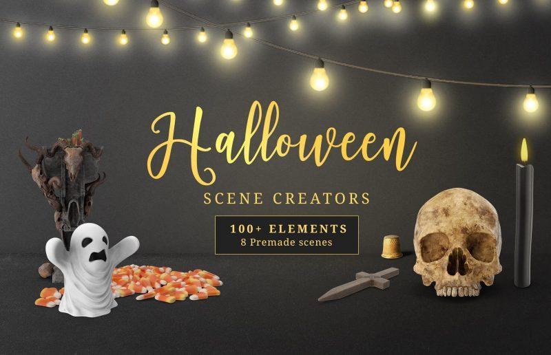 Free Halloween Scene Creators Mockup
