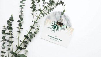 Free Hanging Postcard Mockup
