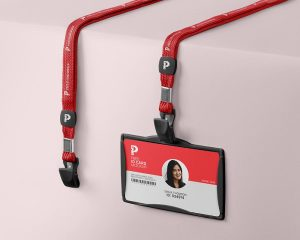 Free Id Card & Holder Mockup
