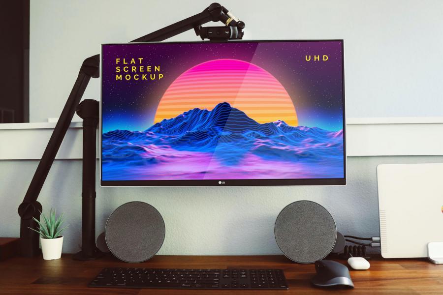 Free LG Flat Screen Monitor Mockup