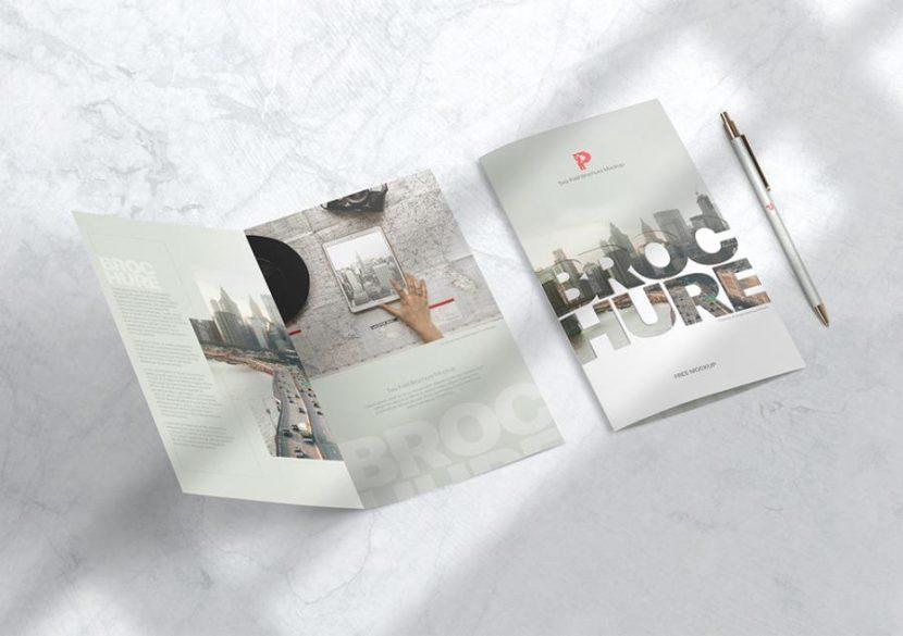 Free (PSD) Bi-Fold Brochure Mockup