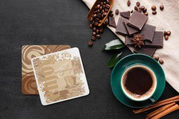 Free (PSD) Coffee Coaster Mockup