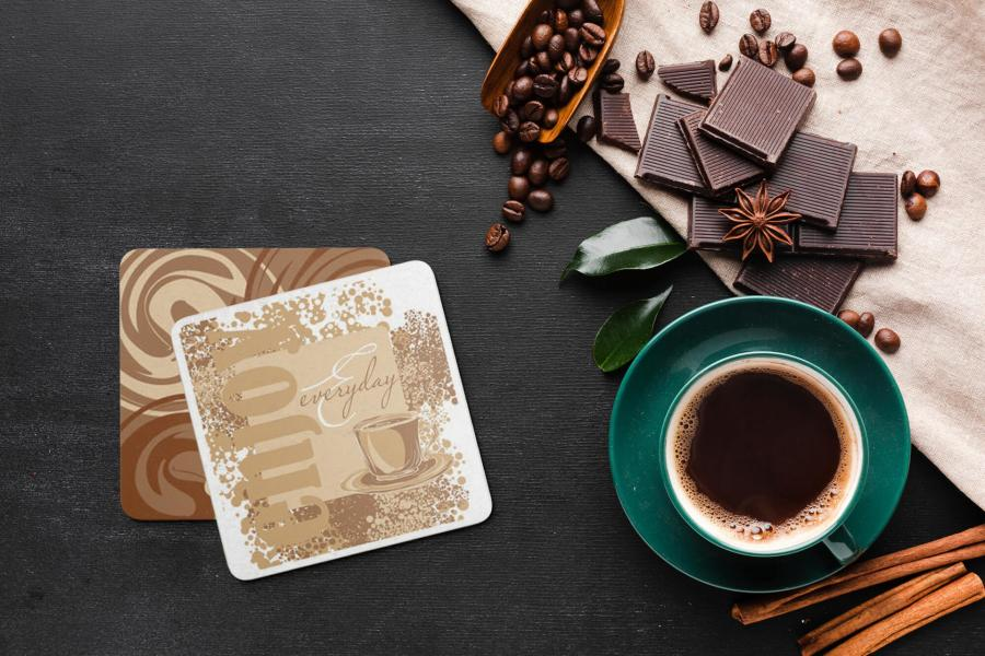 Free (PSD) Coffee Coaster Mockup