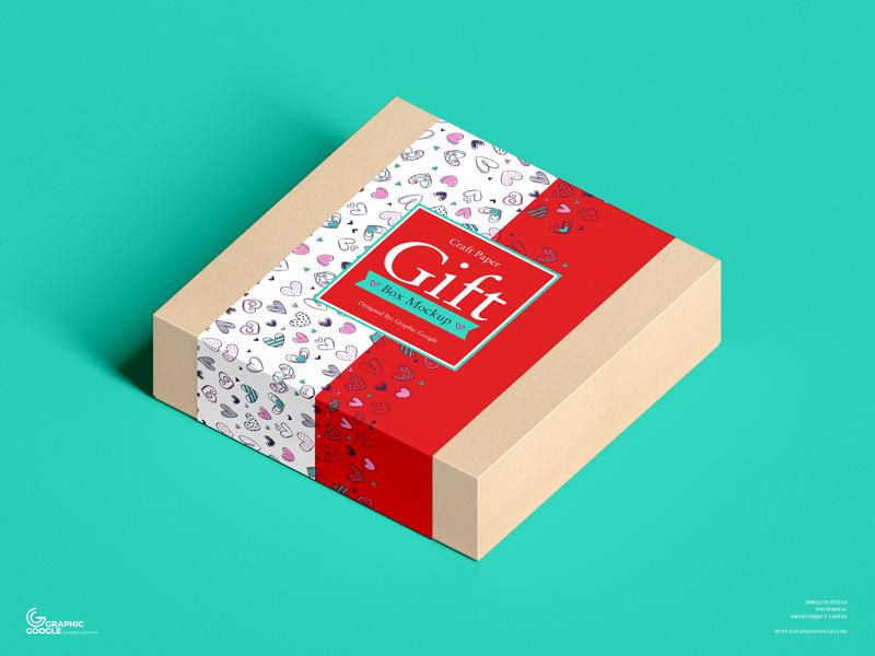 Free (PSD) Craft Paper Square Gift Box Mockup