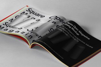 Free (PSD ) Open Square Magazine Mockup