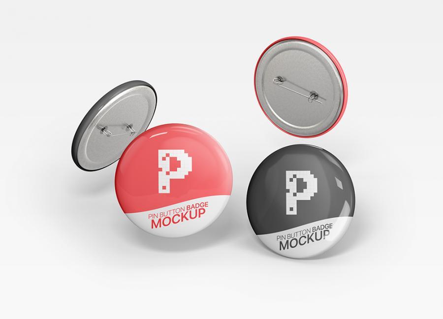 Free (PSD) Pin Button Badge Mockup