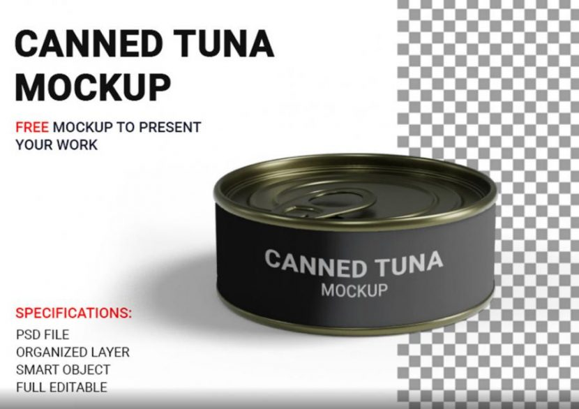 Free (PSD) Short Canned Tuna Mockup
