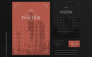Free PSD Stationery Branding Posters Mockup