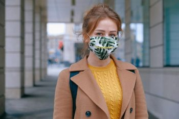 Free (PSD) Woman in Mask Mockup