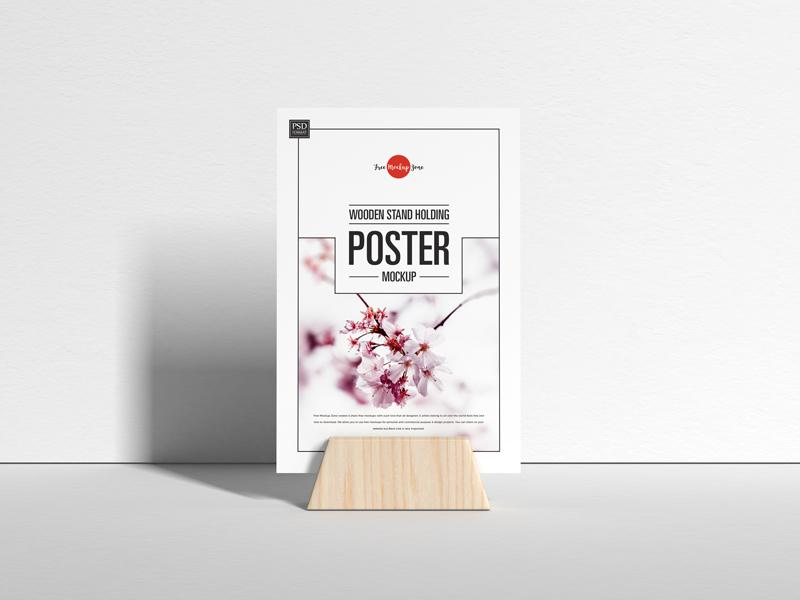 Free (PSD) Wooden Stand Holding Poster Mockup