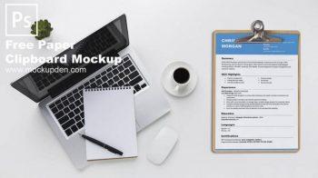 Free Paper Clip Board Mockup
