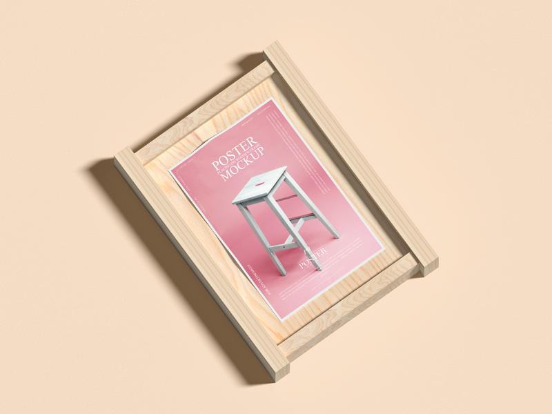 Free Poster inside Wooden Frame Mockup